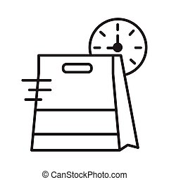 food paper bag with watch line style icon