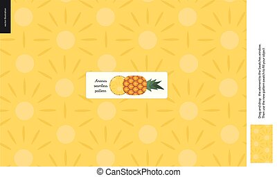 Food patterns, fruit, pineapple