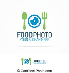 Food photo logo set with lens, fork and spoon