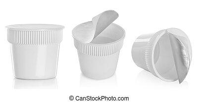 Food plastic container , dessert, yogurt, ice-cream, sour cream, noodle isolated over white background