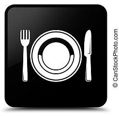 Food plate icon black square button