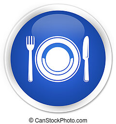 Food plate icon blue glossy round button