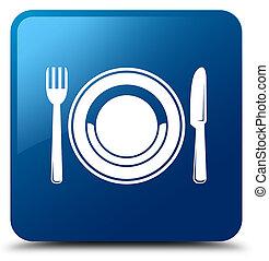 Food plate icon blue square button