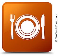 Food plate icon brown square button
