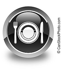 Food plate icon glossy black round button