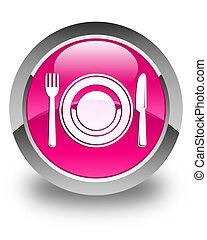 Food plate icon glossy pink round button