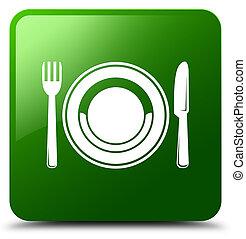 Food plate icon green square button