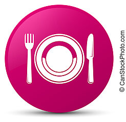 Food plate icon pink round button