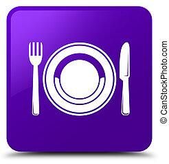 Food plate icon purple square button