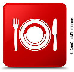 Food plate icon red square button