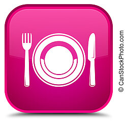 Food plate icon special pink square button