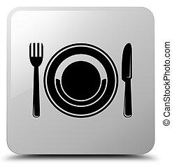 Food plate icon white square button