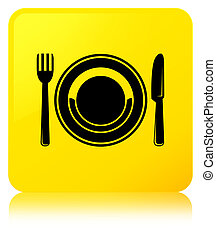 Food plate icon yellow square button
