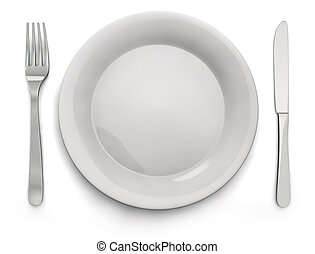 Food Plate, Knife, Fork - Stock Image - Empty white plate...