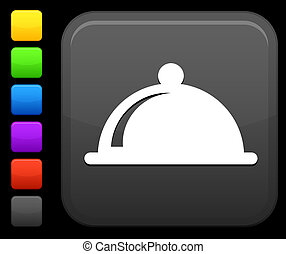 food platter icon on square internet button