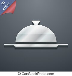 Food platter serving icon symbol. 3D style. Trendy, modern design with space for your text Vector