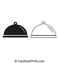 Food platter serving sign - green vector icon