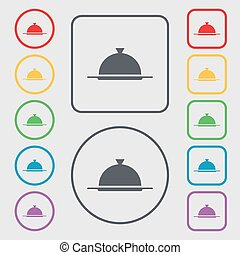 Food platter serving sign icon. Table setting in restaurant symbol. Symbols on the Round and square buttons with frame. Vector