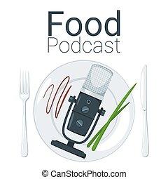 Food podcast color vector illustration. Video blogging...