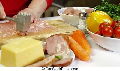 Food Preparation - Rolls of Chicken