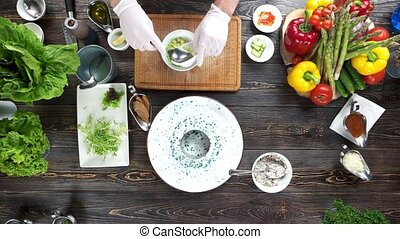 Food preparation top view. Herring tartare ingredients.
