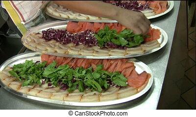 Food preparing (h003) - A lady preparing hors d%u2019oeuvre...