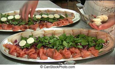 Food preparing (h007) - A lady preparing hors d%u2019oeuvre...