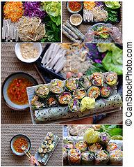 Food processing vegetarian rice paper rolls, fresh Vietnamese spring roll