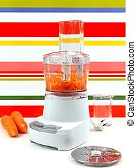 A food processor on a kitch bench