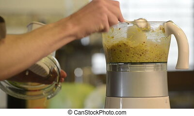 Food Processor - Blending Asian style meal ingredients in a...