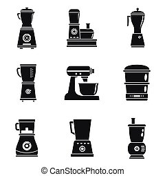 Food processor machine icon set, simple style