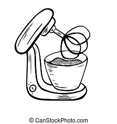 Food processor. Mixing. Electric kitchen appliance. Cookery, kitchen tools ? doodles. Electric machine. Kitchen appliance, equipment. Vector illustrations in sketch style