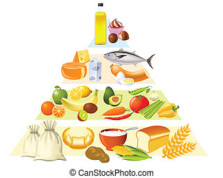 Food pyramid set partly made with gradient mesh