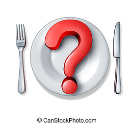 Food questions and what do you eat at restaurants in relation to diets and nutrition and allergic reactions to ingredients in the meals we consume as a red dimensional question mark with a dinner plate and silverware table setting.