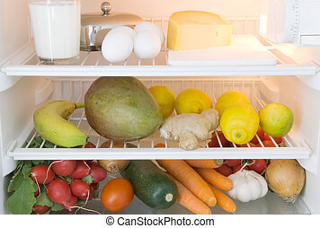 food refrigerator - dairy products, fruits and vegetables in...
