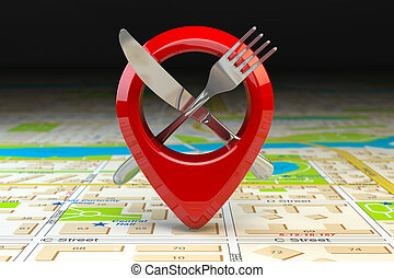 Food, restaurant or cafe location and direction concept. Pin...