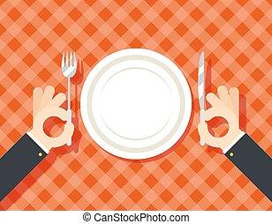Food Restaurant Promotion Hands Cutlery Plate Fork and Knife oncept Symbol on Stylish Background Flat Design Vector Illustration