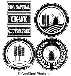 Food rubber stamps labels collection for whole grain cereal products