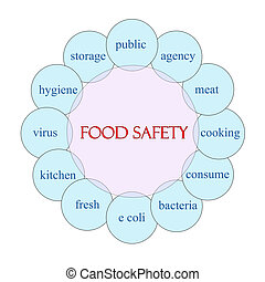 Food Safety concept circular diagram in pink and blue with great terms such as public, agency, bacteria and more.