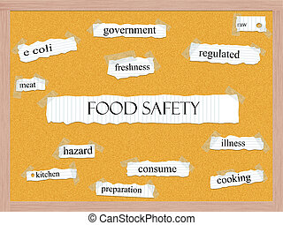 Food Safety Corkboard Word Concept with great terms such as meat, kitchen, consume and more.