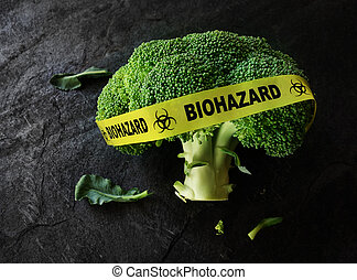 Food safety or contamination concept - Yellow Biohazard tape...