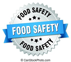 food safety round isolated silver badge