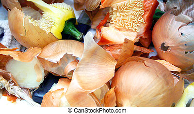 Peelings and food scraps ready for the compost bin