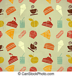 Retro seamless color background - food icons in vintage style - vector illustration