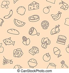 food Seamless pattern elements and background