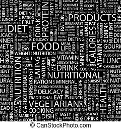 FOOD. Seamless pattern. Word cloud illustration.