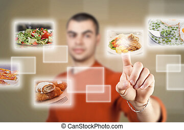 food selection - Young man pressing a touchscreen button,...