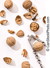 walnut - food serias: walnut with cracker on the white