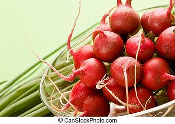 radish - food series: fresh vegetables, red ripe spring...