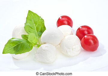 mozzarella - food series: mozzarella, tomato and basil over ...